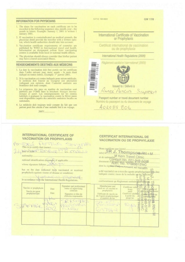 Snyman Andre Yellow Fever Certificate Exp 2022
