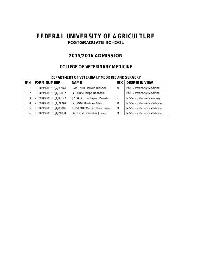 FEDERAL UNIVERSITY OF AGRICULTURE POSTGRADUATE SCHOOL 2015/2016 ADMISSION COLLEGE OF VETERINARY MEDICINE DEPARTMENT OF VET...