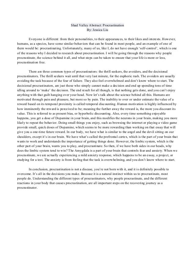 Procrastination essay conclusion thesis statement on assisted suicide