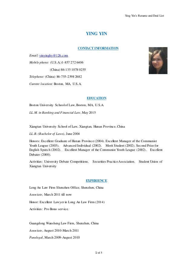 Ying Yinu0027s Resume And Deal List 1 Of 5 YING YIN CONTACT INFORMATION Email:  Yinyinghy ...  Resume Deal