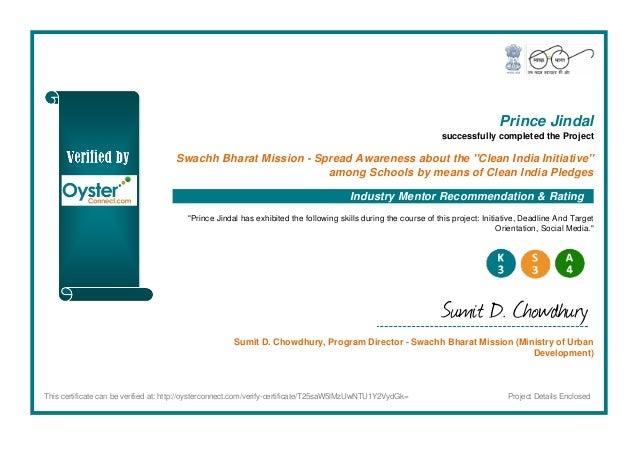 Certificate Swachh Bharat