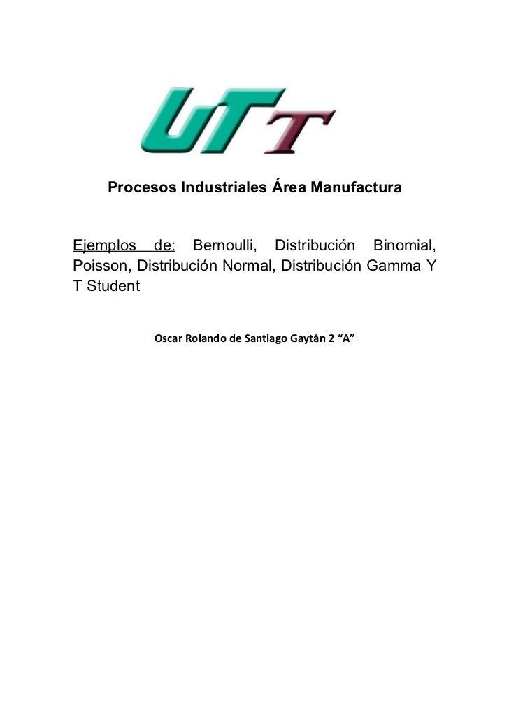 Procesos Industriales Área ManufacturaEjemplos de: Bernoulli, Distribución Binomial,Poisson, Distribución Normal, Distribu...