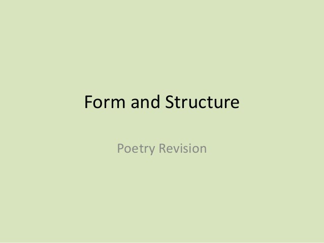Form and Structure Poetry Revision