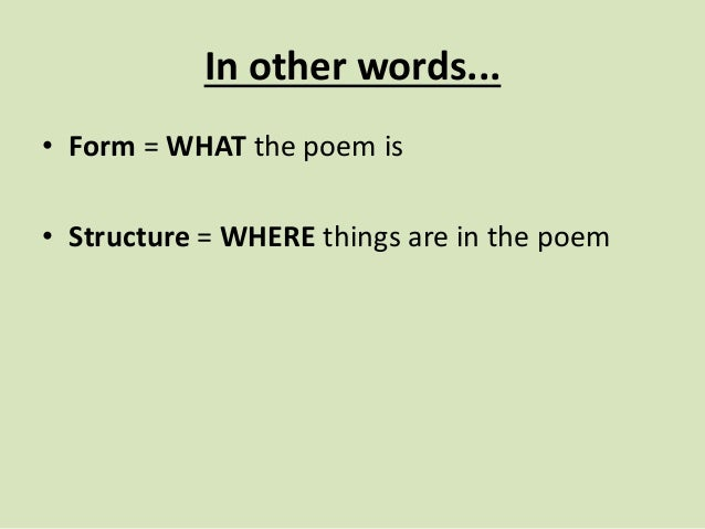 Form And Structure Edexcel Literature Certificate Poems