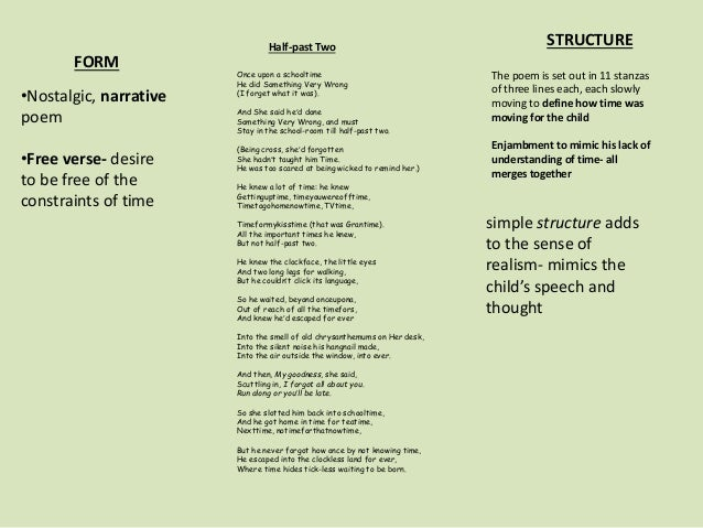 Form and structure - edexcel literature certificate poems