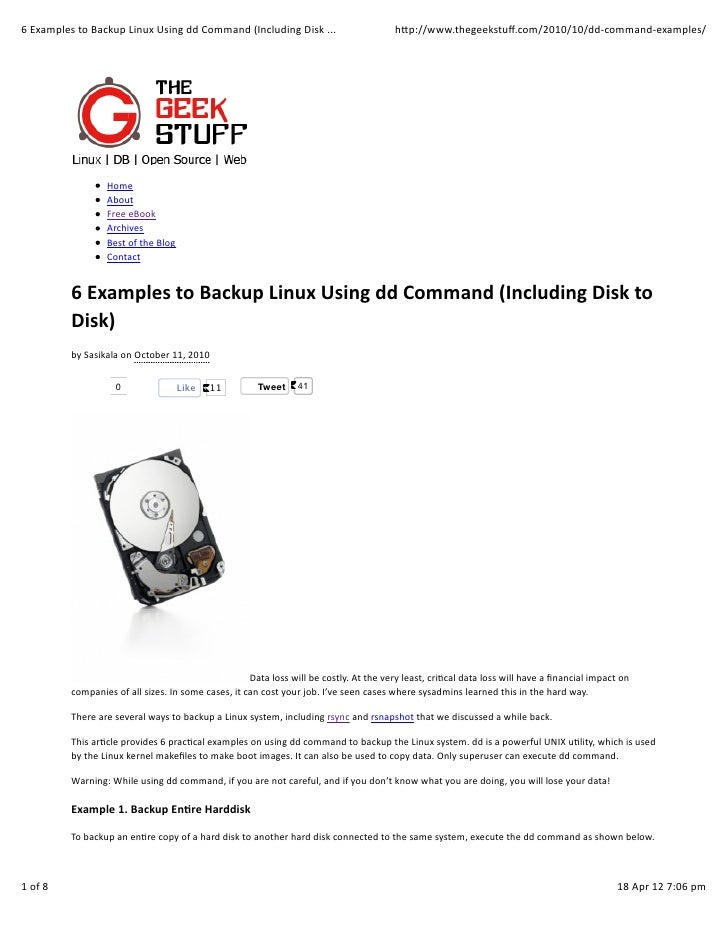 6	  Examples	  to	  Backup	  Linux	  Using	  dd	  Command	  (Including	  Disk	  ...                                       ...
