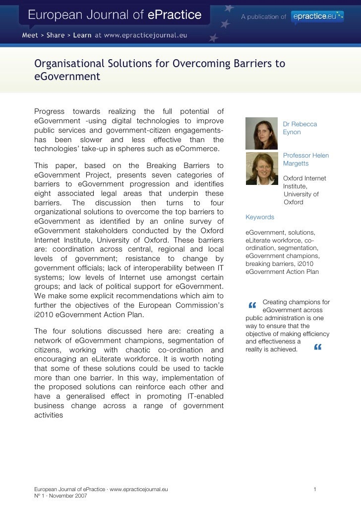 Organisational Solutions for Overcoming Barriers to eGovernment   Progress towards realizing the full potential of eGovern...