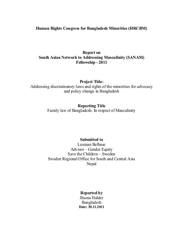 Human Rights Congress for Bangladesh Minorities (HRCBM) Report on South Asian Network to Addressing Masculinity (SANAM) Fe...