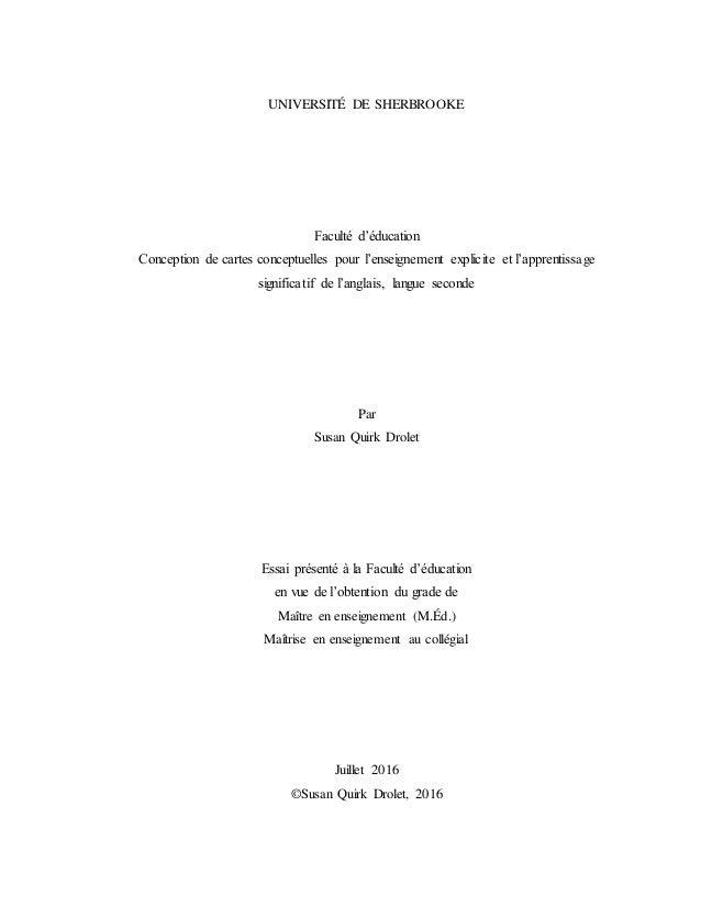 UNIVERSITÉ DE SHERBROOKE Faculté d'éducation Conception de cartes conceptuelles pour l'enseignement explicite et l'apprent...