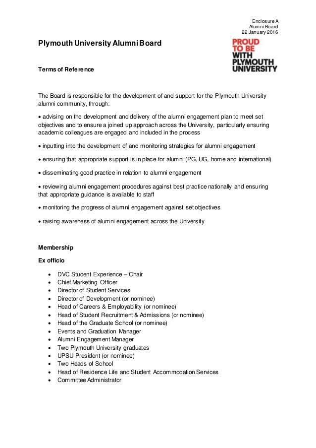 encl a plymouth university alumni board tor and membership