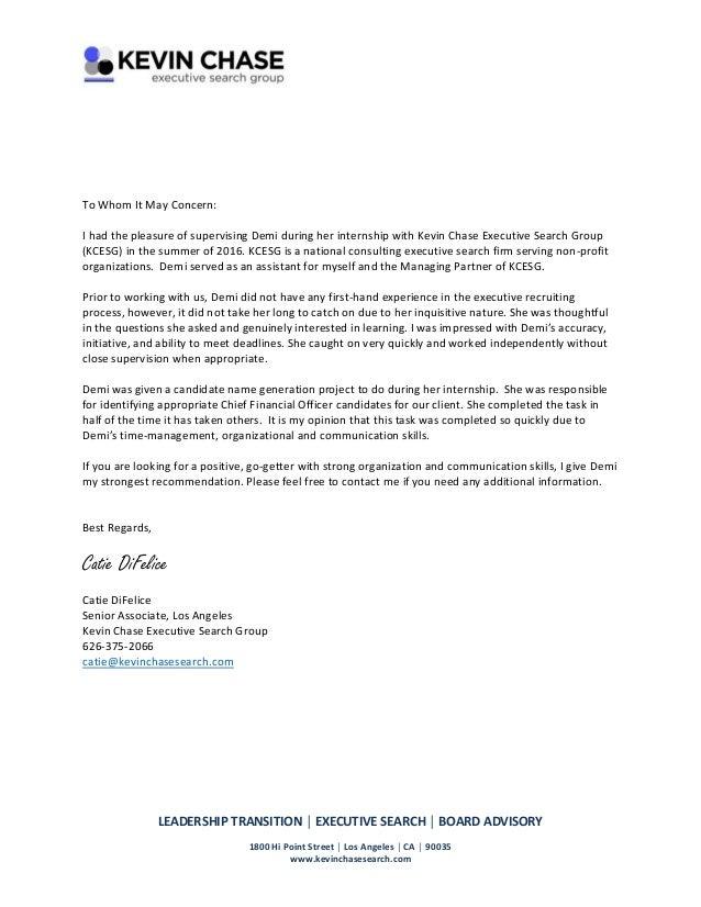 recommendation letter internship 2016