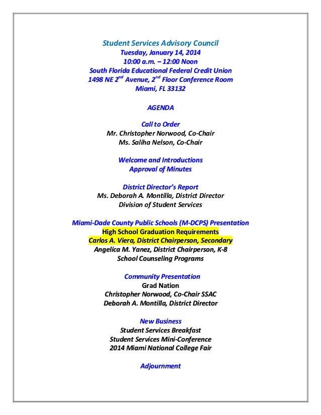 Studentserfvices Advisory Council January 14 2014