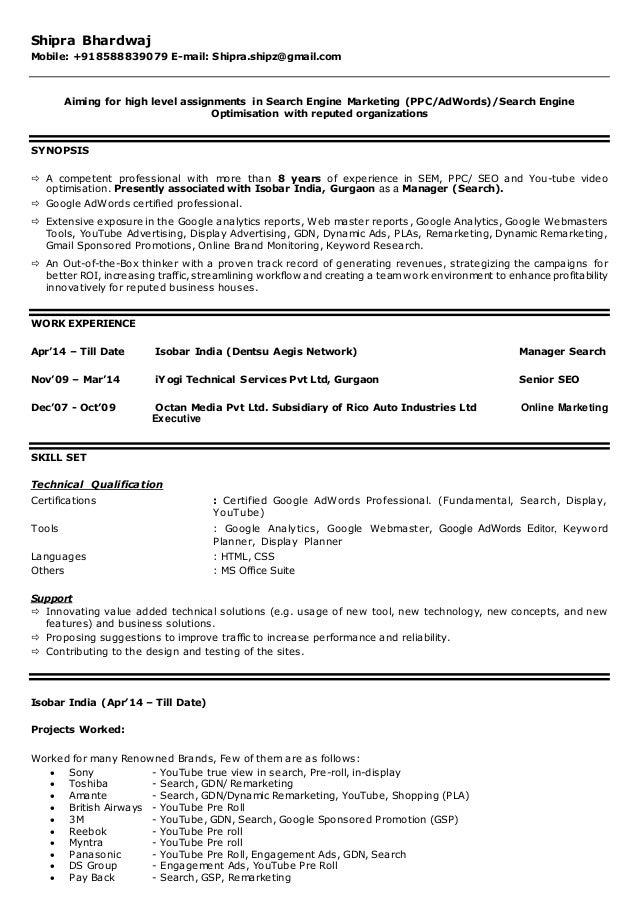 Resume-Shipra SEM-SEO