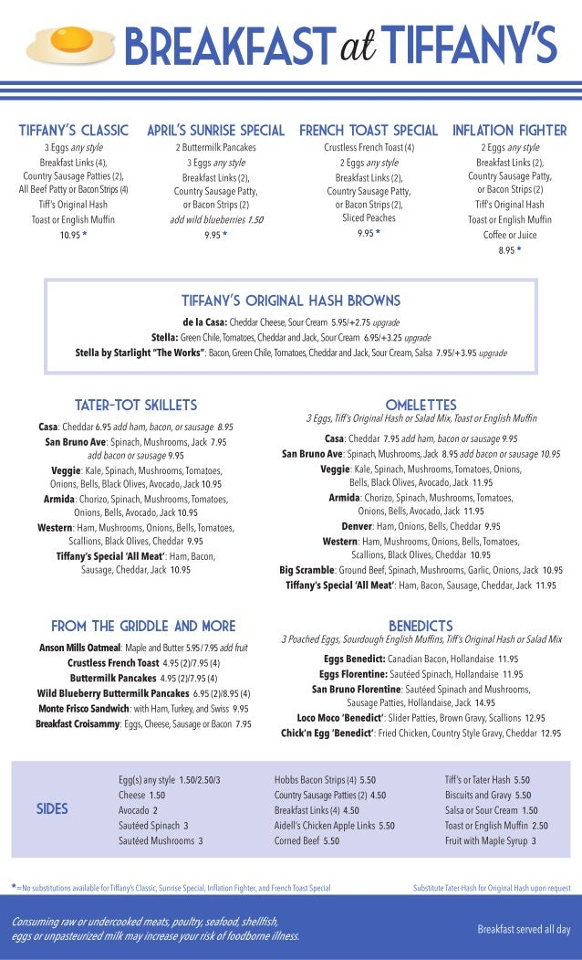 breakfast at tiffany 39 s restaurant menu