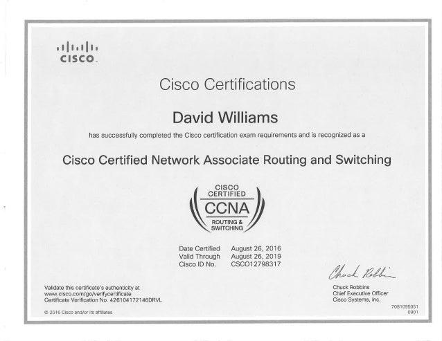 CCNA Certificate 2016-2019
