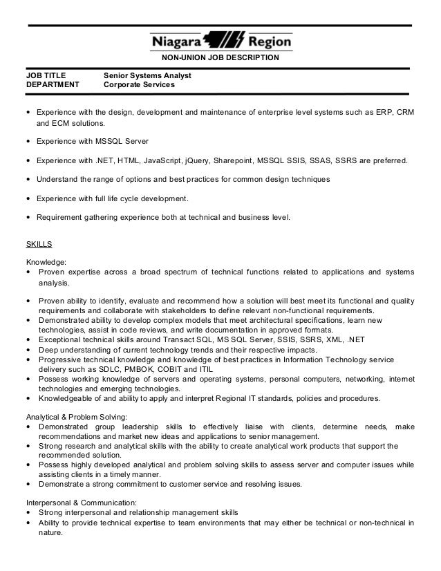 Computer Systems Analyst Job Description Project Analyst Job