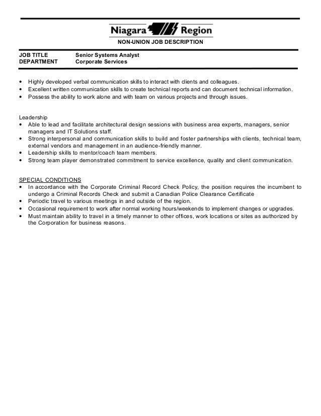 2PR57 Senior Systems Analyst – System Analyst Job Description