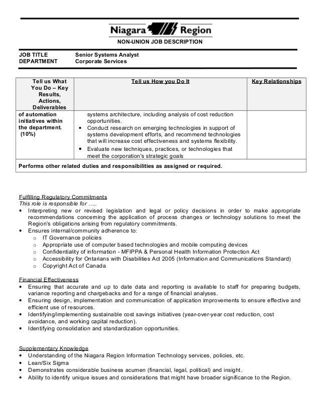 ... Directors Management Team; 5. NON UNION JOB DESCRIPTION JOB TITLE  Senior Systems Analyst ...