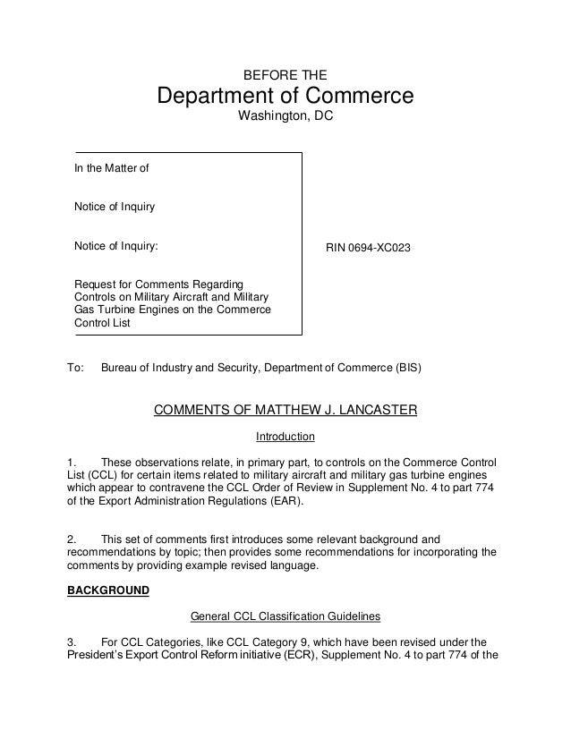 BEFORE THE Department of Commerce Washington, DC To: Bureau of Industry and Security, Department of Commerce (BIS) COMMENT...