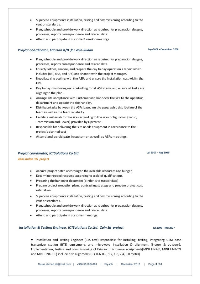 Rfi And Project Coordinator And Resume