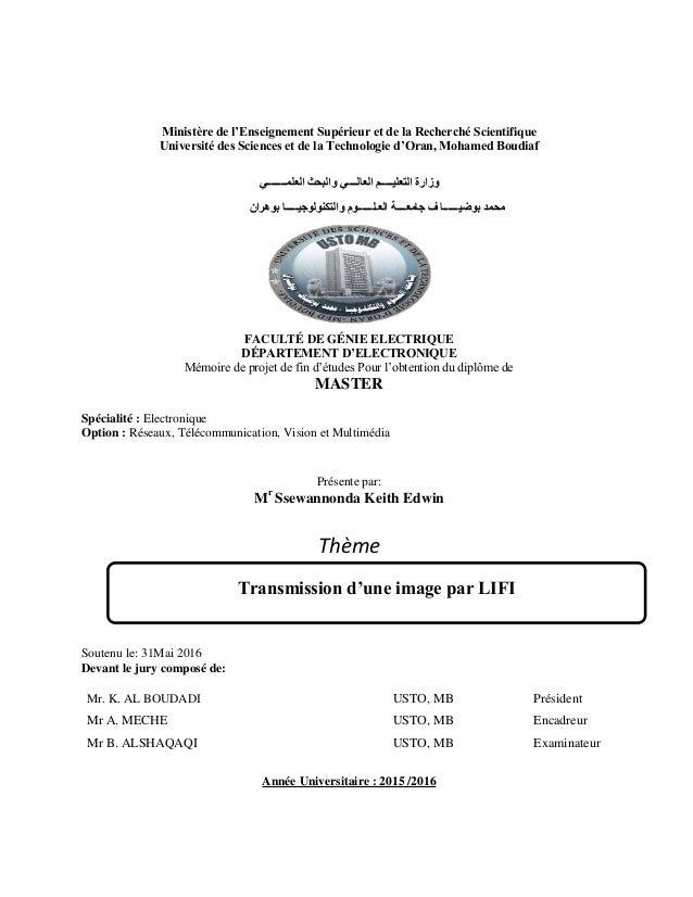 Transmission d'une image par Li-Fi 1 Ministère de l'Enseignement Supérieur et de la Recherché Scientifique Université des ...