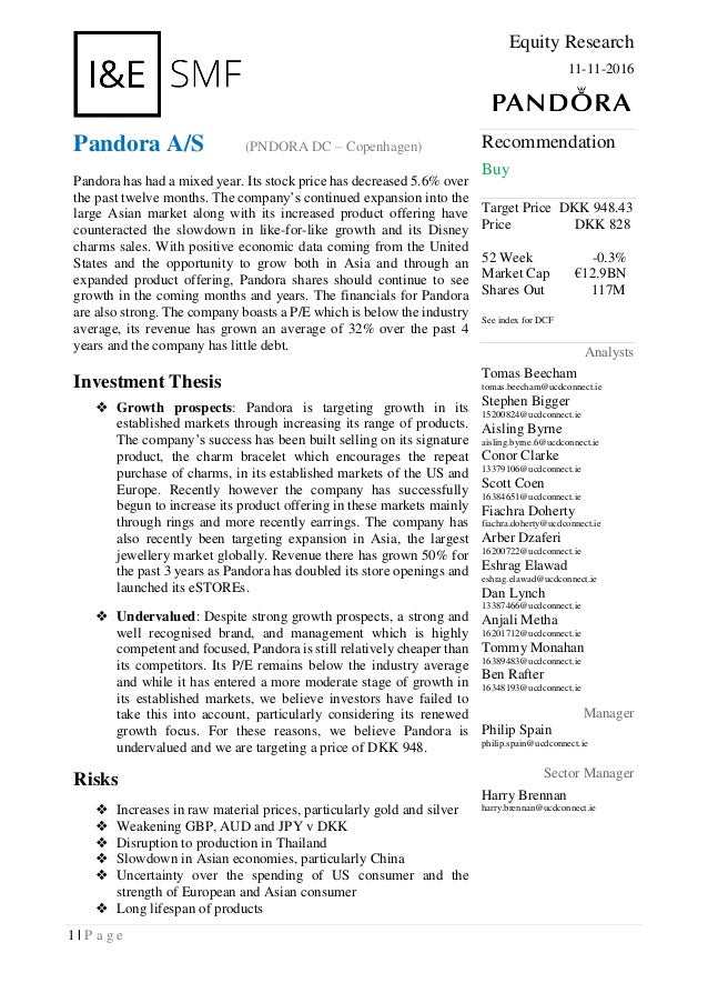 pandora research report 1 p a g e equity research 11 11 2016 pandora a s
