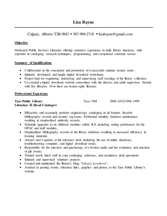 library resume 2016