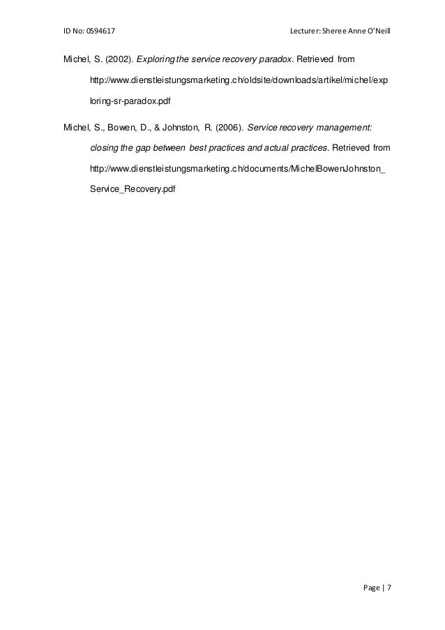 essay on service recovery