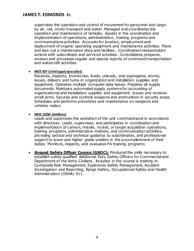 edmonds resume rh slideshare net military job descriptions for resume 92a resume examples
