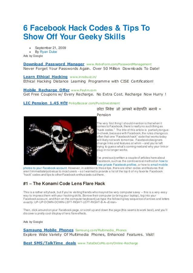 6 facebook hack codes