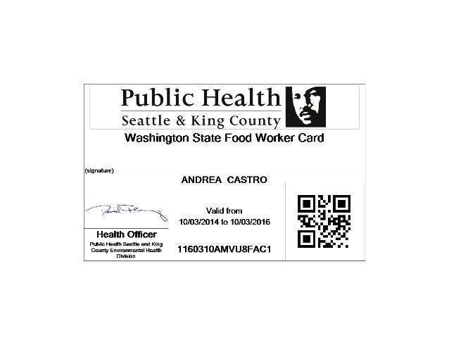Washington Health Department Food Handlers Permit