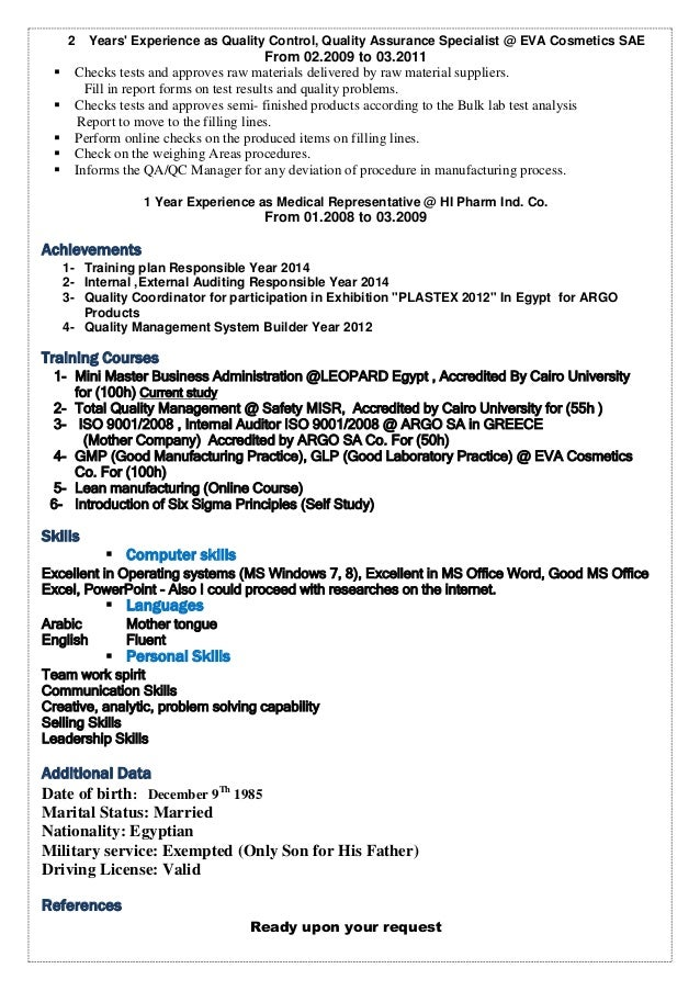 Superb Quality Management System 2   Quality Control Specialist Sample Resume Ideas Quality Assurance Specialist Resume