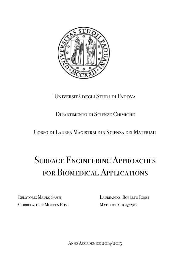Università degli Studi di Padova Dipartimento di Scienze Chimiche Corso di Laurea Magistrale in Scienza dei Materiali Surf...