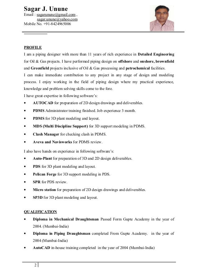 Sp3d piping designer resume
