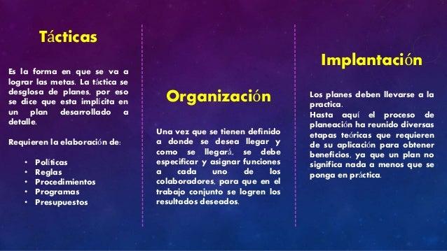Tácticas  Es la forma en que se va a  lograr las metas. La táctica se  desglosa de planes, por eso  se dice que esta implí...