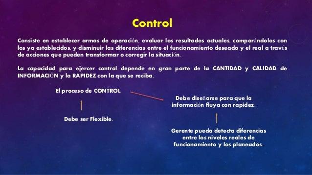 Control  Consiste en establecer armas de operación, evaluar los resultados actuales, comparándolos con  los ya establecido...