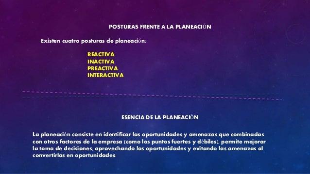 POSTURAS FRENTE A LA PLANEACIÓN  Existen cuatro posturas de planeación:  REACTIVA  INACTIVA  PREACTIVA  INTERACTIVA  ESENC...