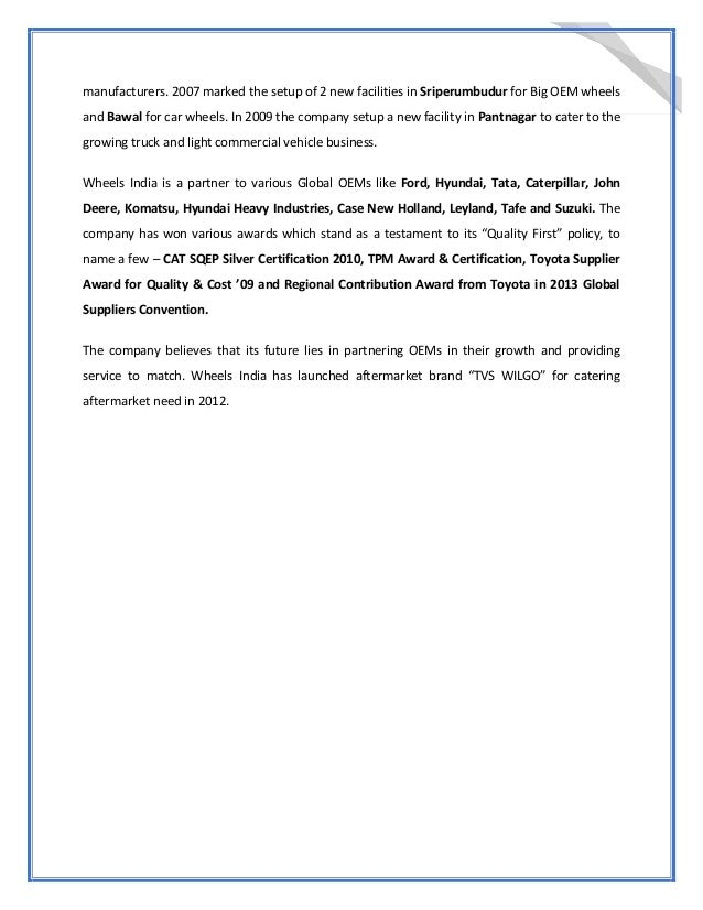 Internship Report At Wheels India Ltd