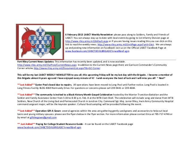 6 February 2013 1ABCT Weekly Newsletter: please pass along to Soldiers, Family and Friends of                             ...
