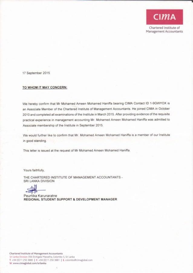 CIMA Letter of good standing