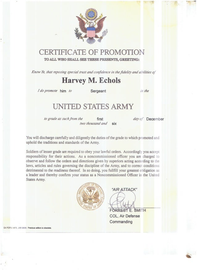 Certificate Of Promotion To Sergeant