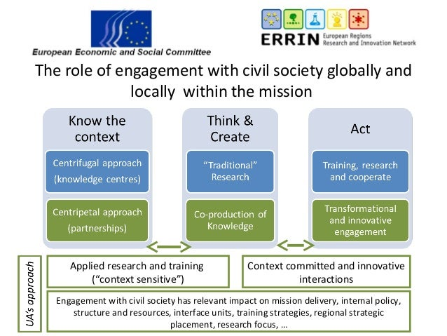 """The role of engagement with civil society globally and locally within the mission Applied research and training (""""context ..."""