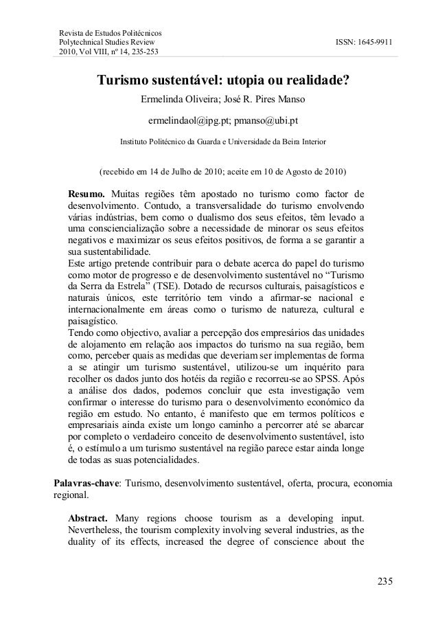 Revista de Estudos Politécnicos Polytechnical Studies Review 2010, Vol VIII, nº 14, 235-253 ISSN: 1645-9911 235 Turismo su...