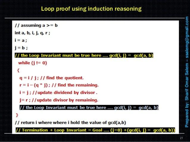 6 formal methods – loop proof using induction method