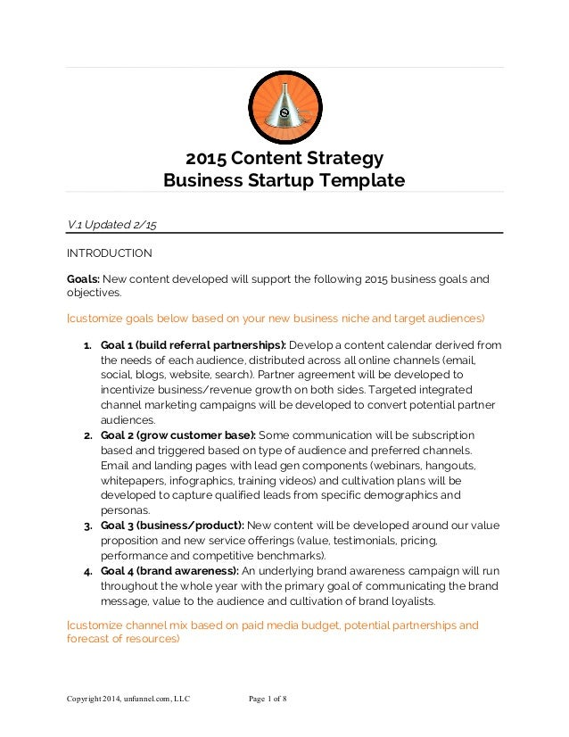 Content Strategy Template For Startups In