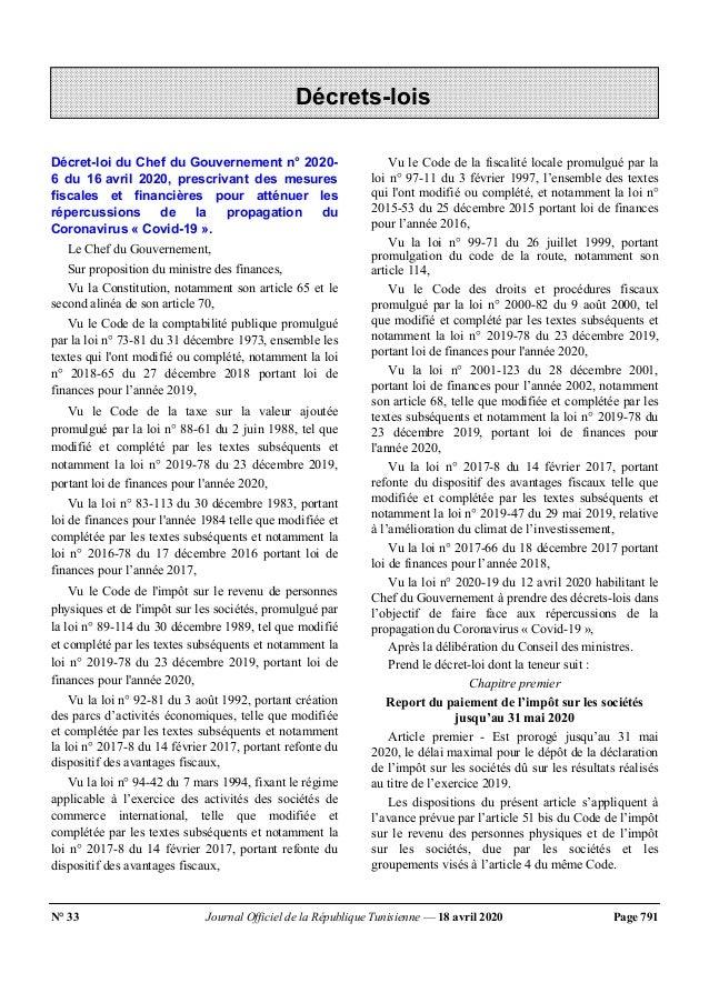 N° 33 Journal Officiel de la République Tunisienne — 18 avril 2020 Page 791 Décret-loi du Chef du Gouvernement n° 2020- 6 ...