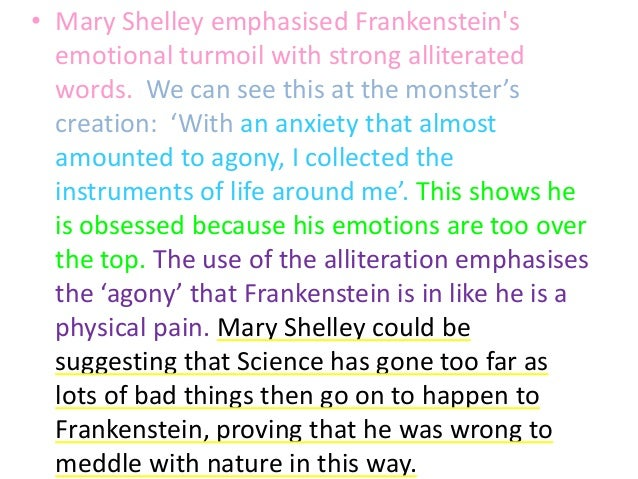 an analysis of effects of science in frankenstein by mary shelley Mary shelley's frankenstein, the 1994 companion piece to bram stoker's dracula (1992), is directed by star kenneth branagh, and co-produced by francis ford.