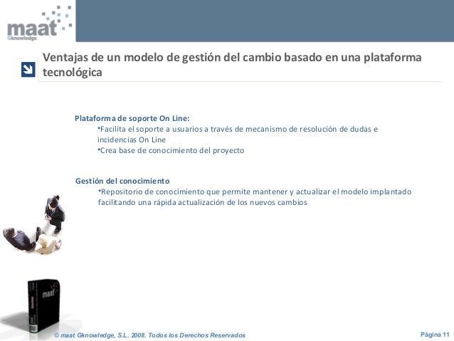 Página 11© maat Gknowledge, S.L. 2008. Todos los Derechos Reservados Plataforma de soporte On Line: •Facilita el soporte a...