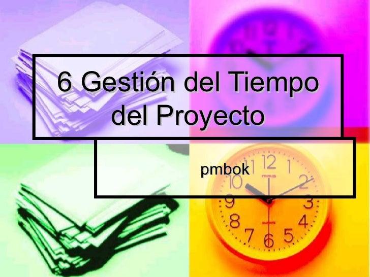 6 Gestión del Tiempo    del Proyecto          pmbok