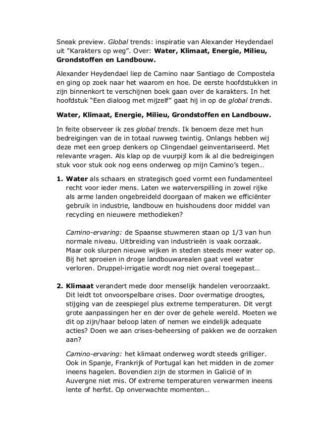 """Sneak preview. Global trends: inspiratie van Alexander Heydendael uit """"Karakters op weg"""". Over: Water, Klimaat, Energie, M..."""